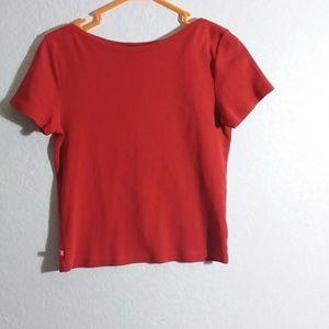 Thick Red 100% cotton tshirt Petite Medium